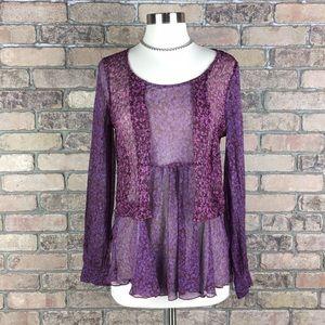 CAbi Bohemian Blouse 100% Silk Size M